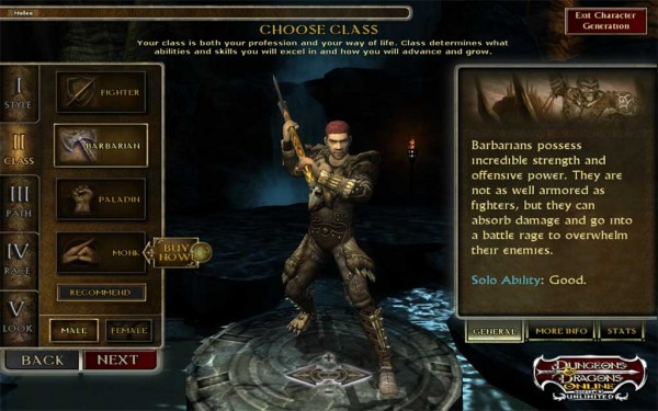 Dungeons and Dragons Online Character Creation
